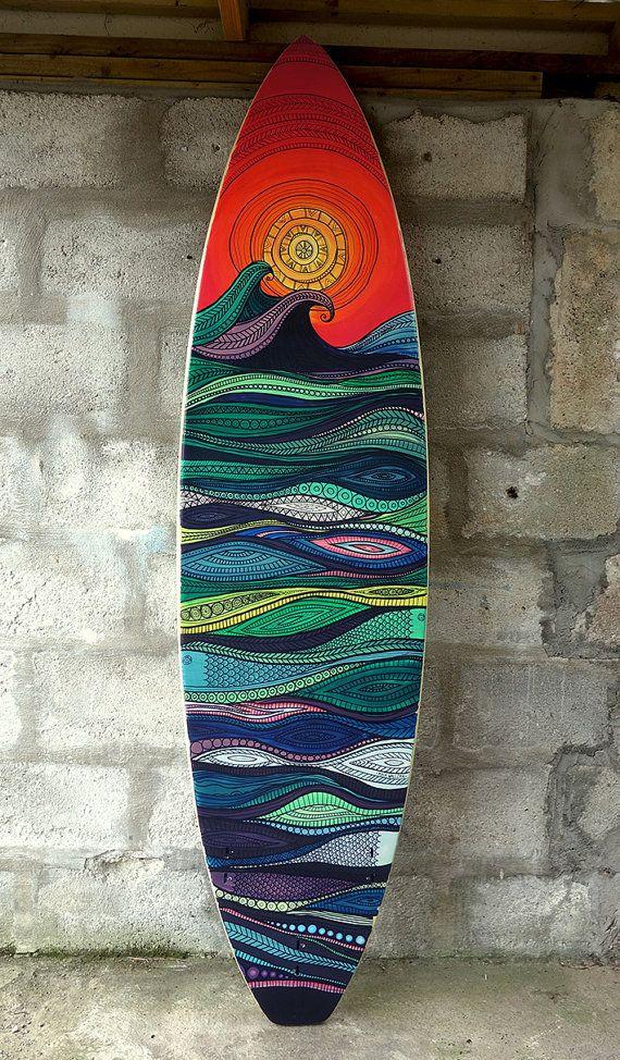 Surfboard Art on 7 foot surfboard - Original painting - Wall art