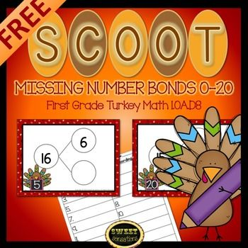 First Grade Math Missing Number Bonds Scoot game!  (1.OA.D8)Click here for other Scoot Games.Scoot! is a fun game that gets students out of their chairs and moving around the classroom to answer questions based on what they have been studying.  It is great for review and for teacher observation.