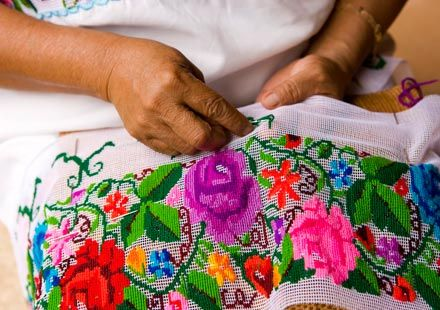 Embroidering huipiles in Yucatan.