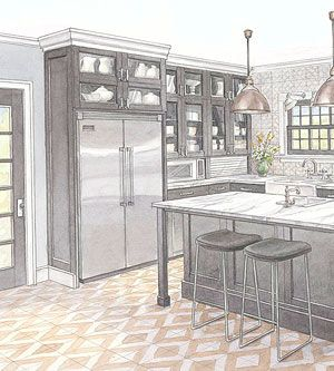 A built-in refrigerator provides a custom, upscale look. But you can achieve the look without the expense. Here's how.