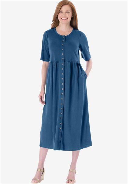 35 Petite dress with button front, empire waist by Only Necessities®   Plus Size Petite   Woman Within