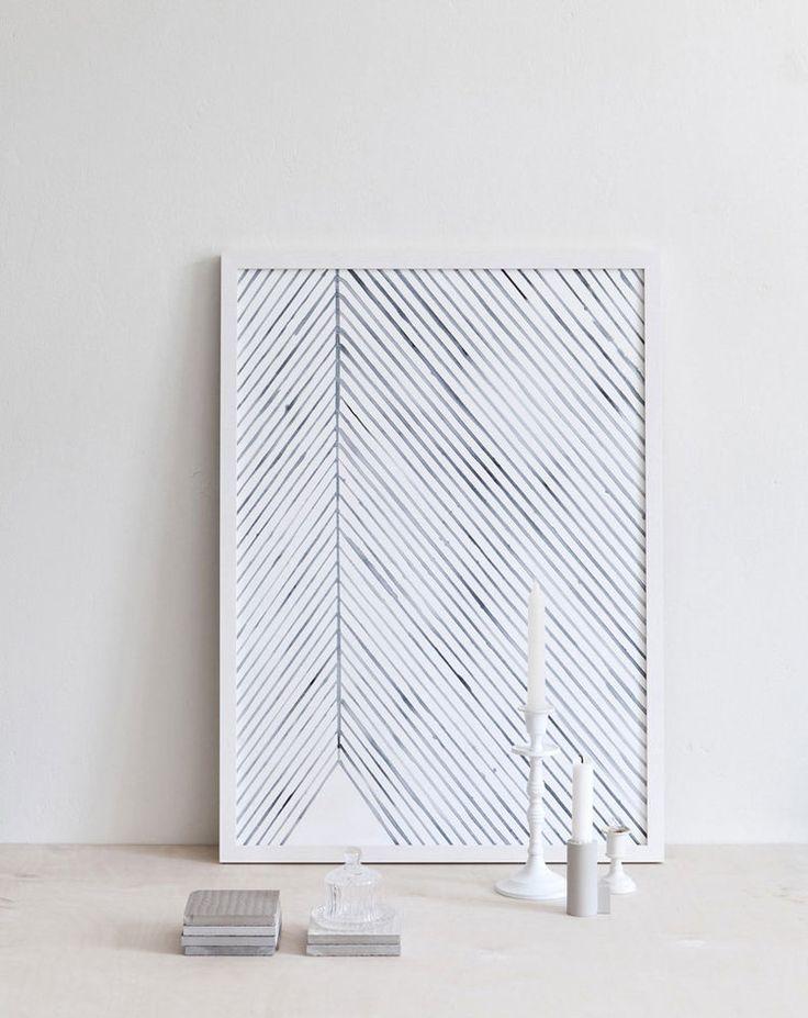 Leaf lines (blue) art print