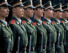 Chinese guards standing to attention