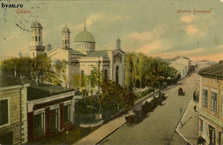 """Biserica Grecească, Galati, Romania, anul 1910, http://stone.bvau.ro:8282/greenstone/collect/fotograf/index/assoc/J1FI1966.dir/1FI1966.jpg.  Imagine din colecţiile Bibliotecii Judeţene """"V.A. Urechia"""" Galaţi."""