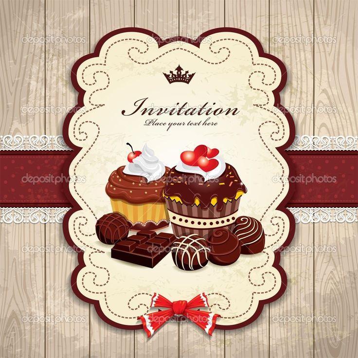 Baixar - Quadro vintage com modelo de bolo de chocolate — Ilustração de Stock #19921247