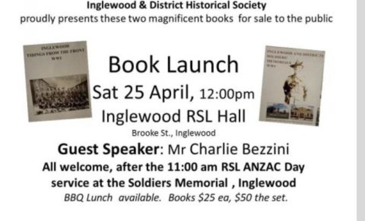 Book Launch Sat 25th April ANZAC DAY