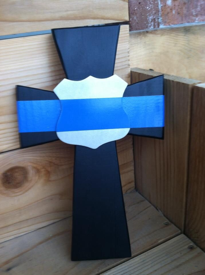 Thin Blue Line Fallen Officer Memorial crosses  9x12 and comes ready to hang. $20 now at Creative Aspects. www.facebook.com/SACscreativeaspects