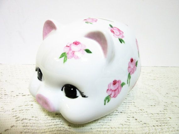 Piggy Bank For Girls Hand Painted Pink by PorcelainChinaArt