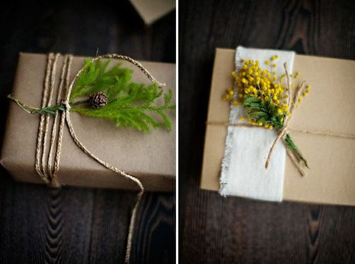 Slip a small plant under some twine to transform plain brown wrapping:   24 Cute And Incredibly Useful Gift Wrap DIYs