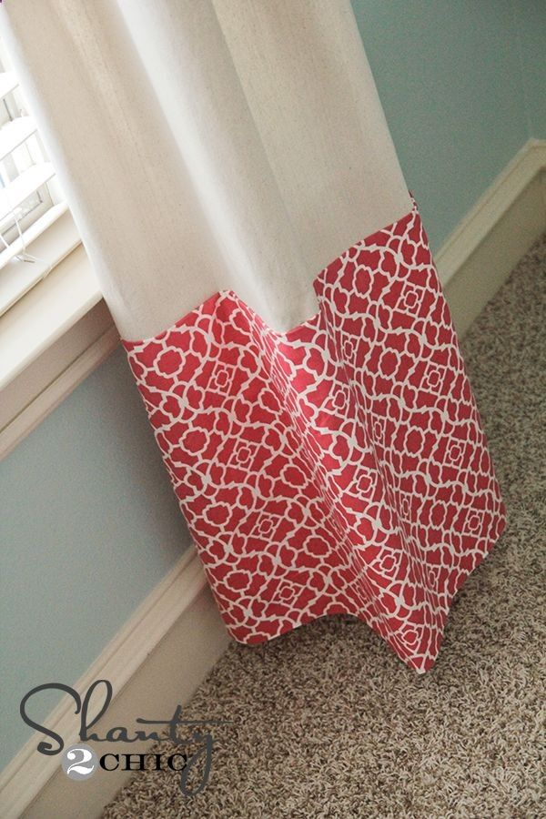 Curtains No Sew ~ drop cloth   a yard of nicer fabric = savings $ and you could dye the drop cloth.