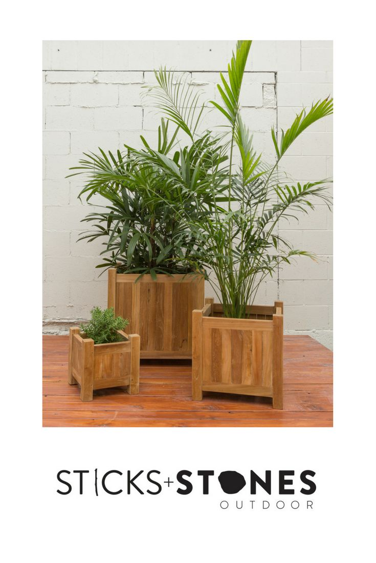 Teak, the ultimate material, made for the outdoors. Our Plantation Teak Square Planter Box is perfect for any indoor/outdoor landscape. It comes in small, medium and large sizes.  At Sticks + Stones Outdoor, we travel the globe to source the most stunning, affordable, practical and stylish items to help you create your own beautiful outdoor space. #outdoorfurniture #teak #homestyling #furniture