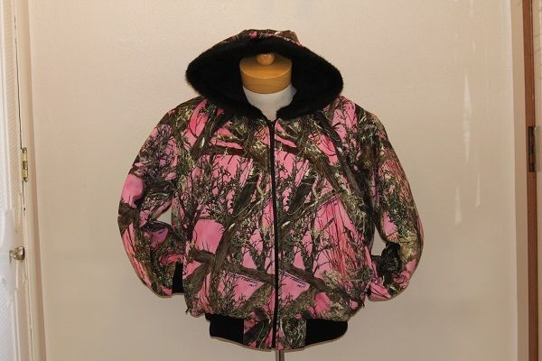 lundeen pink camo jacket womens usa MN made homemade plus sizes 2x, 3x, 4x