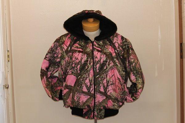 lundeen pink camo jacket womens usa MN made homemade plus sizes 2x, 3x, 4x