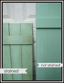 DIY: How to Age Shutters with Paint and Stain - via The Painted Home: { Painting the Shutters }