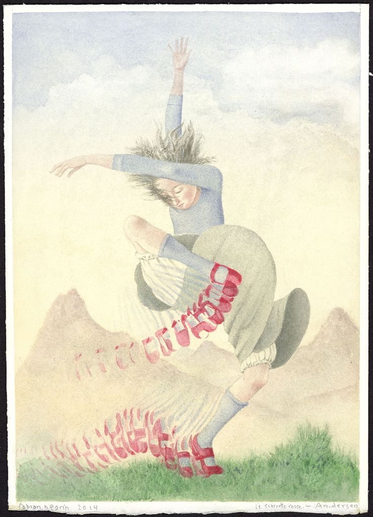 Scarpette rosse  «Dovrai ballare!» disse. «Ballare con le tue scarpe rosse finchè non diventerai pallida e fredda! Finchè la tua pelle sarà raggrinzita come quella di uno scheletro! Dovrai ballare di porta in porta e dove abitano dei bambini superbi e vanitosi dovrai bussare, così che ti sentano e abbiano paura! Dovrai ballare, ballare...!».  illustrazioni di Fabian Negrin © 2014 Donzelli editore