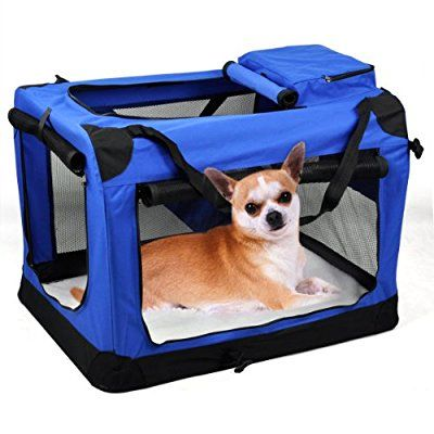 Smallwise Trading Portable Folding Pet Travel Carrier Pet Dog Cat Rabbit Crate Puppy Kennel Cage Carrier Cage House Large(M)-Red And BLue (Red) (Blue)