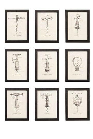 Antique corkscrew prints: wine cellar inspiration #WineCellar