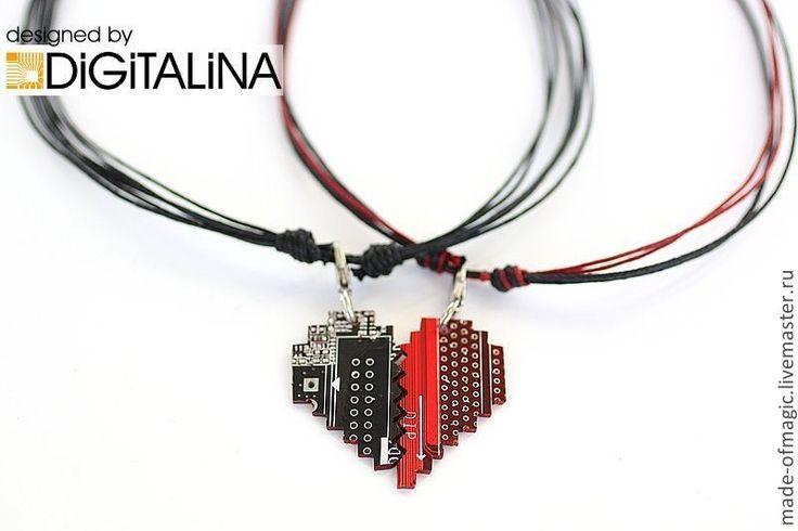 """Купить Парные подвески """"Двоичный код сердца"""" в интернет магазине на Ярмарке Мастеров"""