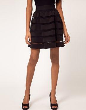 Full Skirt In Mesh And Solid Stripe / ASOS