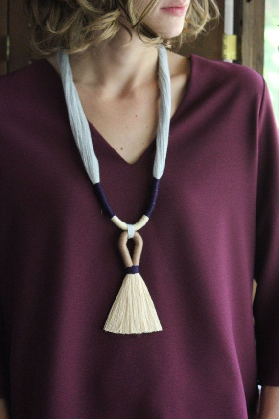 Cybele Necklace / Fiber Jewelry / Tassel