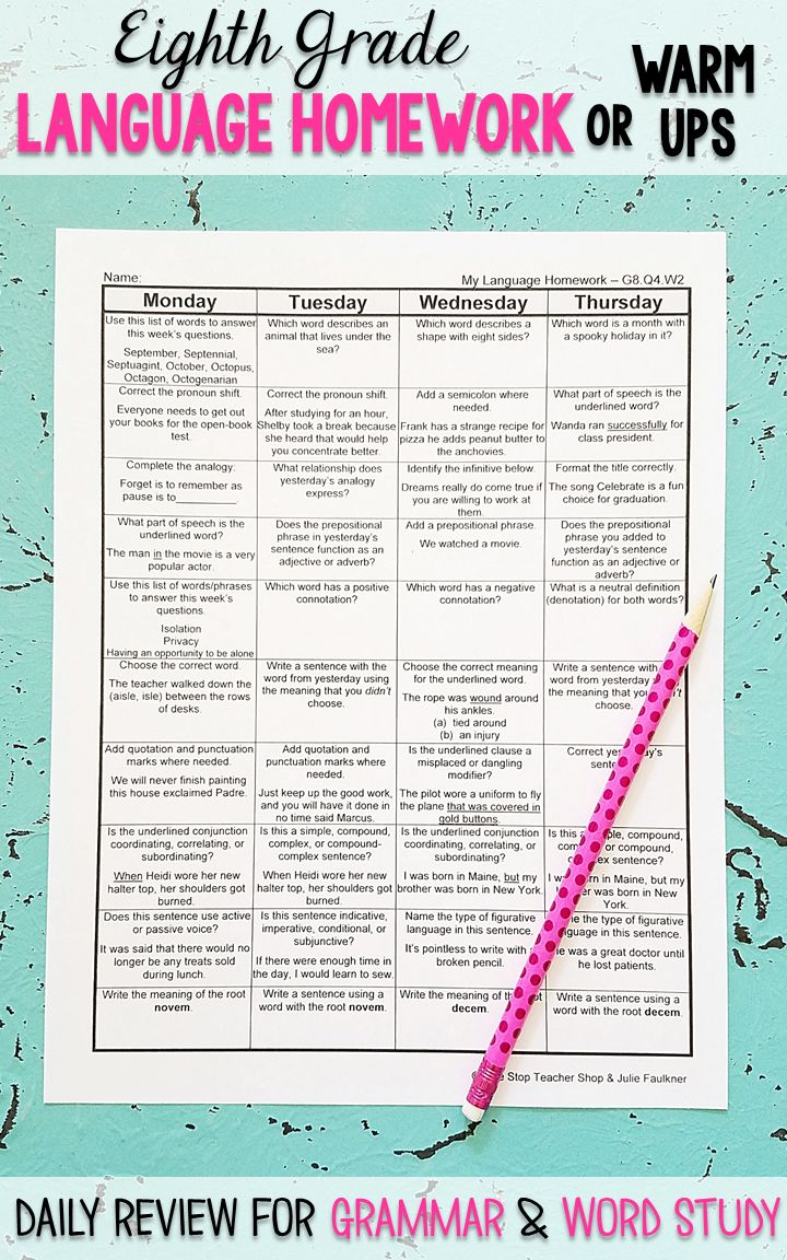 Eighth Grade Language homework or morning work that provides a daily review for 8th Grade grammar and word work standards. This Eight Grade spiral language review resource is fully EDITABLE and comes with answer keys and a pacing guide.