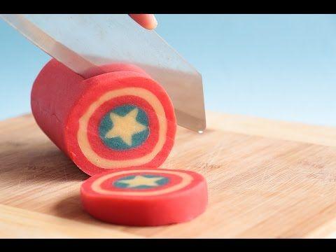 Captain America Shield Cookie Log - YouTube