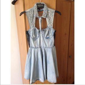 River Island Dresses & Skirts - River Island studded denim skater dress