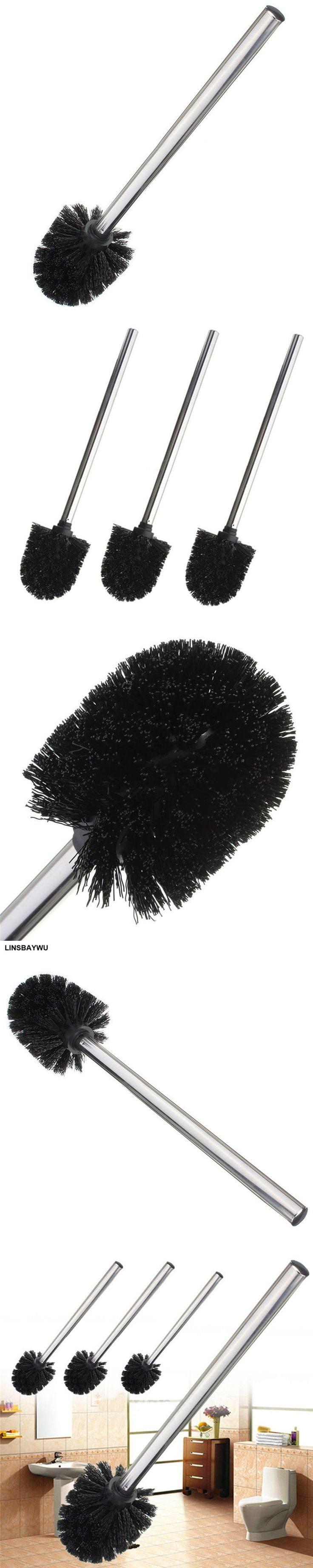 1PC  Replacement Stainless Steel WC Bathroom Cleaning Toilet Brush Black Head Holders