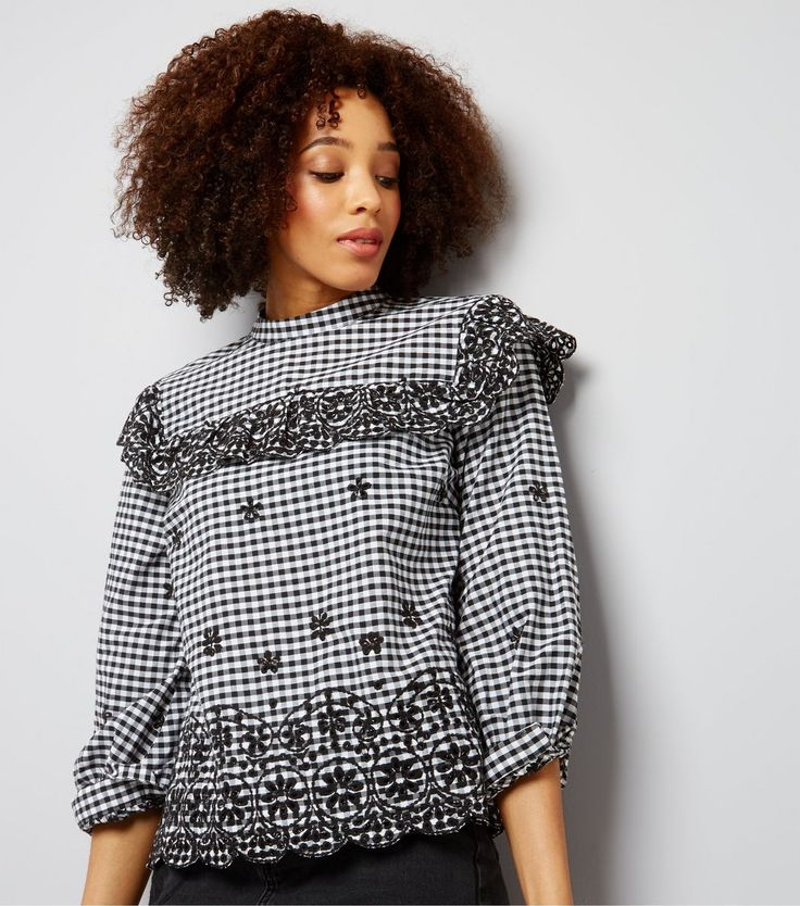 Black Gingham Check Embroidered Frill Trim Top | New Look