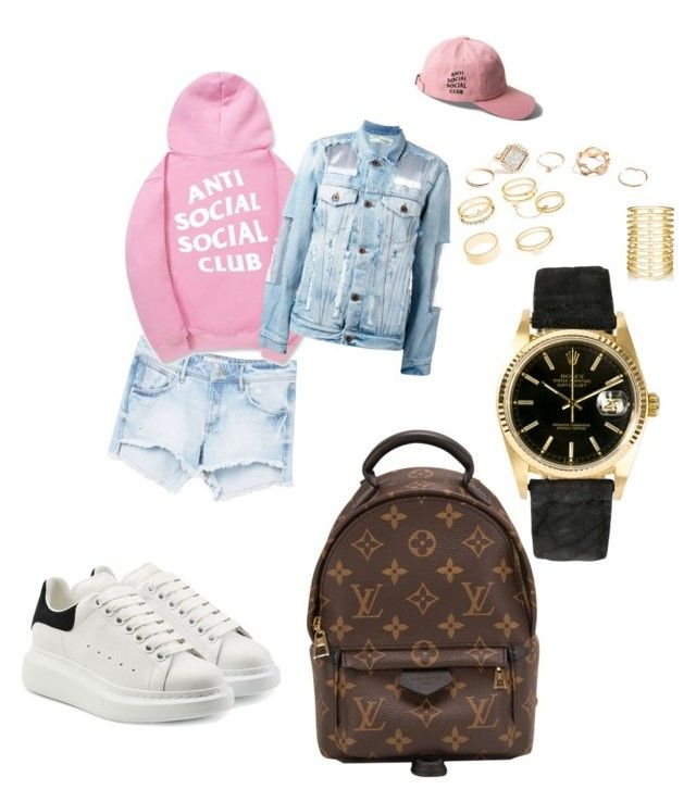 """""""OOTD SOCIAL"""" by madisonkiss on Polyvore featuring MANGO, Off-White, GUESS, Charlotte Russe, Jules Smith, Rolex, Louis Vuitton and Alexander McQueen"""
