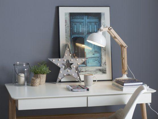 Bureaulamp met hout in wit - tafellamp - industrieel - SALADO_319862