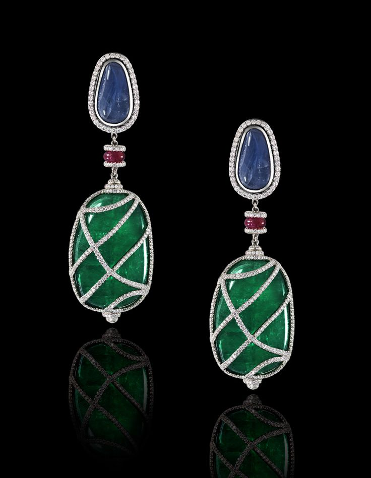Emerald, Sapphire, Ruby and White Diamond Earrings totaling 132.01 carats, handcrafted in platinum.