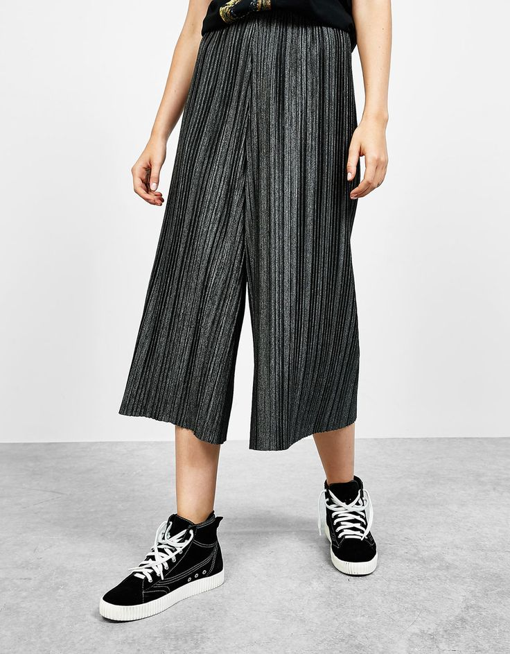 Jupe-culotte plissée - Pantalons - Bershka France