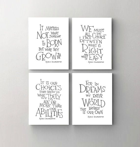 Harry Potter print art -  Albus Dumbledore quote set of 4, drawing art prints, kids room wall art, dorm décor, end of year teacher gift