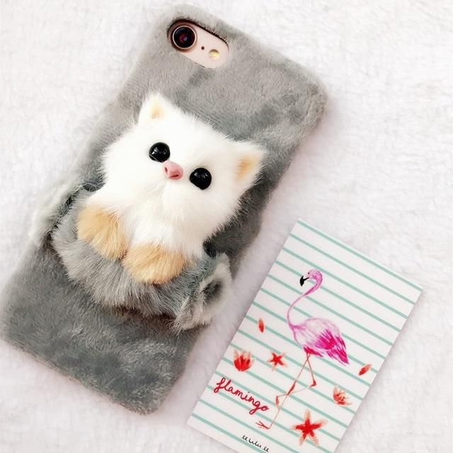 8259be1ea9 Christmas Cute Cat Case for iPhone X 5 SE 6 6s 6splus 7 8 Plus Soft Fur  Plush Hard Shell Phone Back cover DIY 3D Cat Funda Coque | cases | Phone  cases, ...