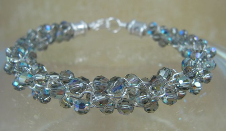 Kumihimo bracelet done using 110 Swarovski crystals and artistic wire.