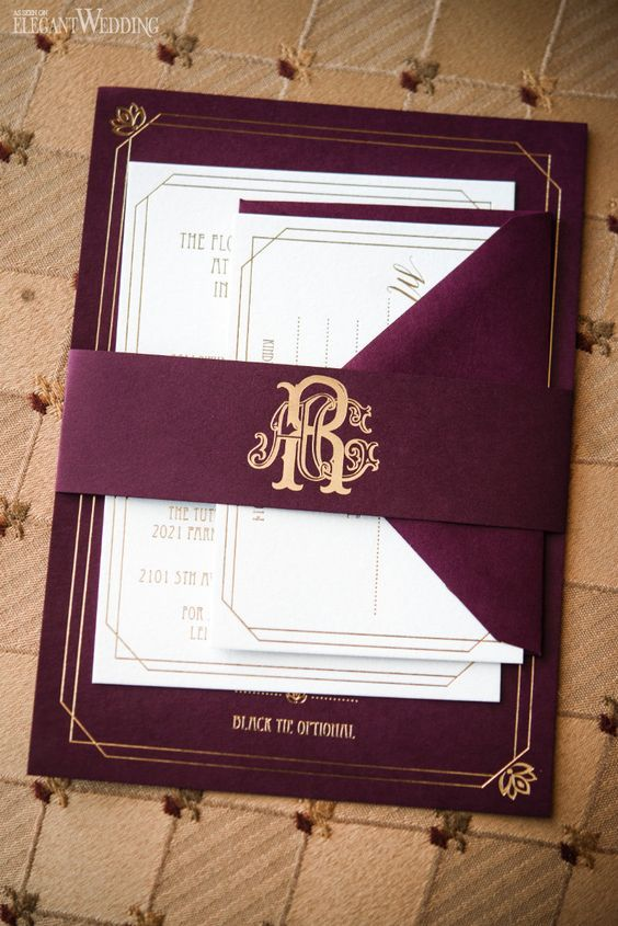 marsala and gold wedding stationery
