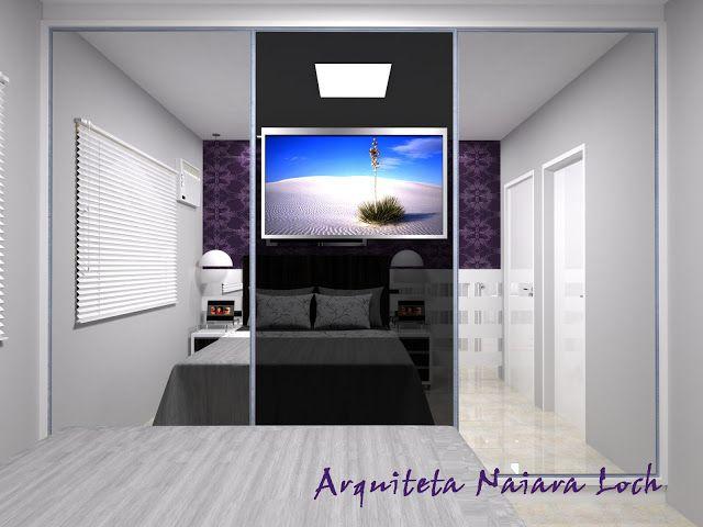 Fotos De Sala Com Tv Lcd Na Parede ~ Quarto de casal A TV embutida na porta, maximiza o espaço Fora isso