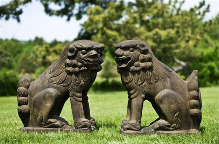 Large Temple Foo Dog Looking Left Cast Stone Foo Dog Statue Made By  Campania International