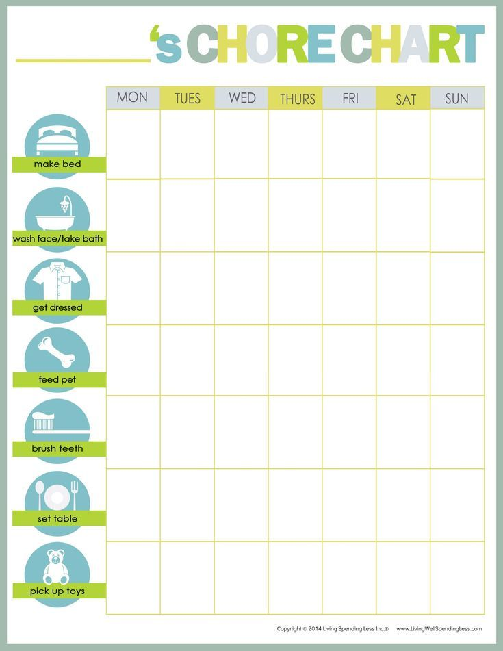 Free Printable Chore Charts for Kids and the Whole Family: Chore Chart Ideas for Kids 2-7
