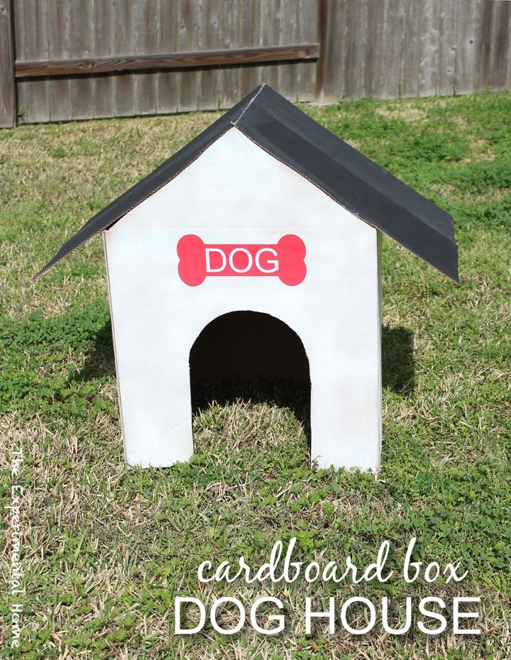 Cardboard box dog house from thexperimentalhome.com