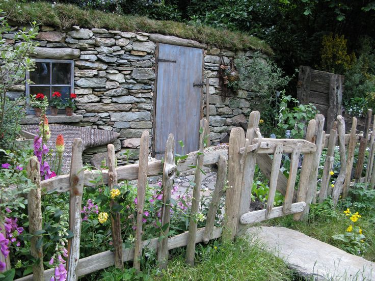 Wonderful old wood picket fence and gate at Shetland Croft House garden during Chelsea Flower Show 2008   by lovedaylemon