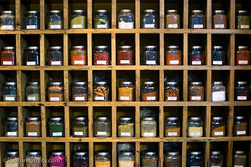 i love this...a spice wall in the kitchen...