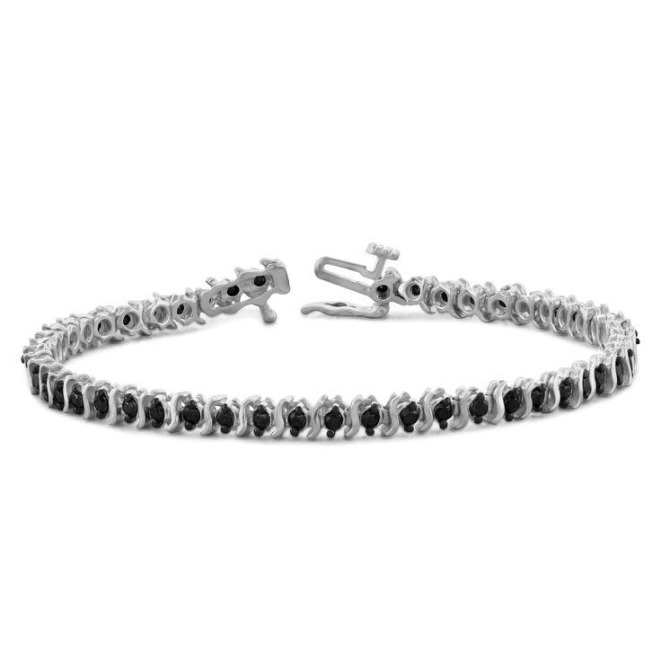 Jewelonfire Sterling Silver or Goldplated Sterling Silver 2ct TDW Black Diamond Bracelet, Women's