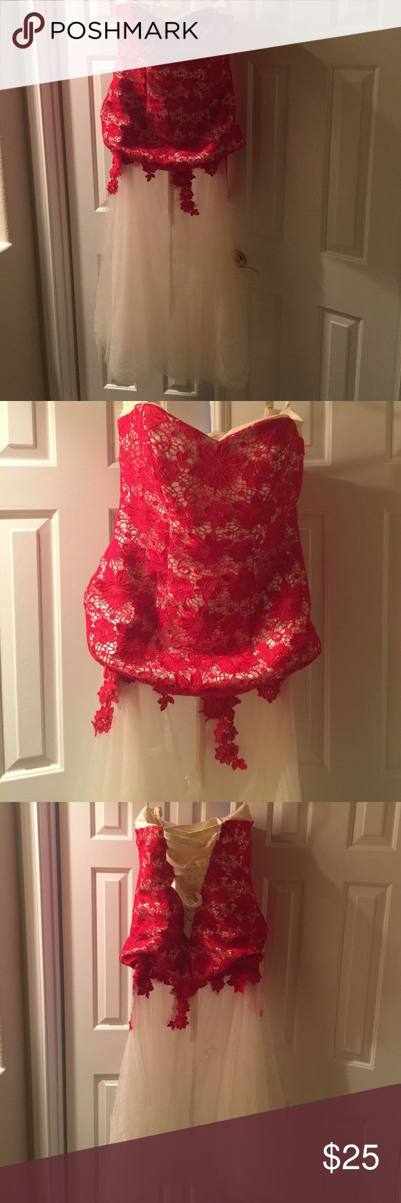 Cute Red Lace Strapless Corset Gown size 14 or 1X New - NEVER WORN!!! Beautiful Strapless Corset Gown. Size 14. Corset style will fit up to size 16. Gorgeous gown for the Holidays! Dresses Strapless