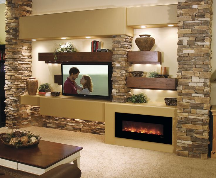"""This 43"""" Built-in/Wall Mounted No Heat Electric Fireplace was designed for those who want to add a tasteful contemporary touch to their space. It features LED Flame Technology and offers users the opt"""