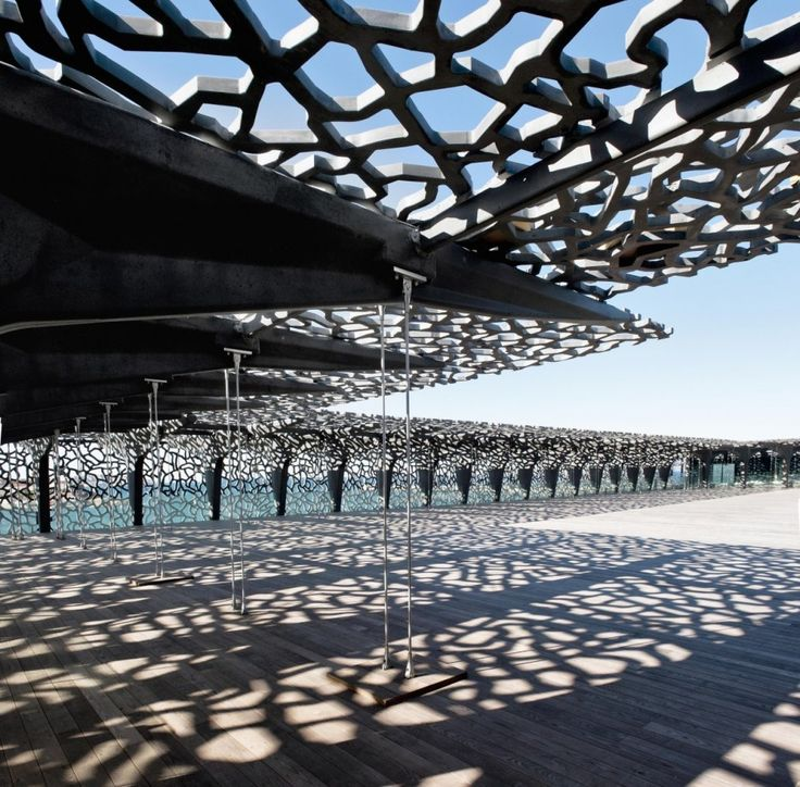 Museum of European and Mediterranean Civilizations (MuCEM) located in Marseille, France and designed by architect Rudy Ricciotti.