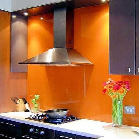 Paint Glass Orange Kitchen Backsplash   The Concept In Different Color