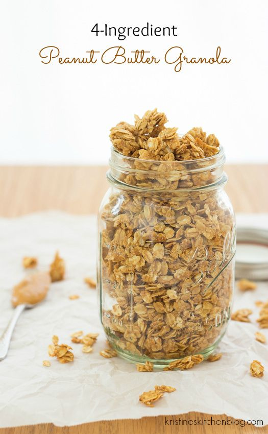 4-Ingredient Peanut Butter Granola - the easiest granola recipe | Kristine's Kitchen (Oats, PB, honey, and vanilla--YUM!!!)