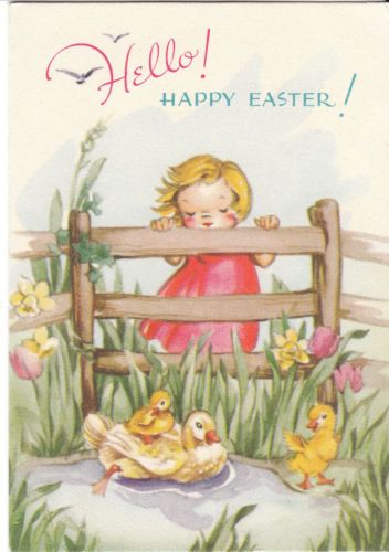 The 299 best buona pasqua images on pinterest vintage cards old vintage easter card little girl watching ducks 1945 gibson child ebay m4hsunfo